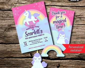 Unicorn Birthday Party Pack Bundle Magic Magical Rainbow Stars Pink Purple Decor Kit Instant Download Printable Customized Personalized DIY