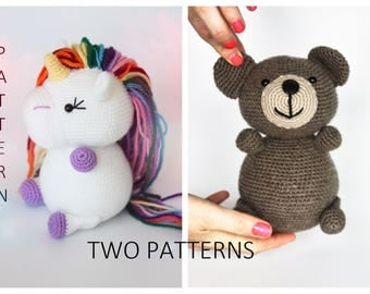 Two Pdf Patterns, Crochet Amigurumi Teddy Bear Unicorn Pattern, Amigurumi Unicorn Pattern, Amigurumi Bear Pattern, Crochet Unicorn Bear