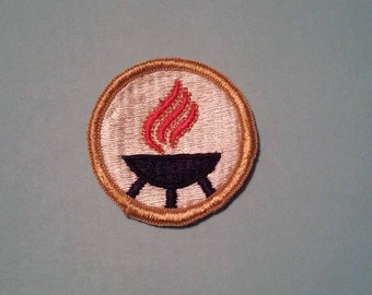 Camp Fire Scouts Camp Fire Girls Fire Pit Old School Patch - Vintage
