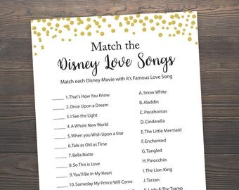 Disney Love Songs, Bridal Shower Games, Love Song Game, Disney Bridal Shower Games, Gold Confetti, Bachelorette Games, Romantic Quotes, GCB3