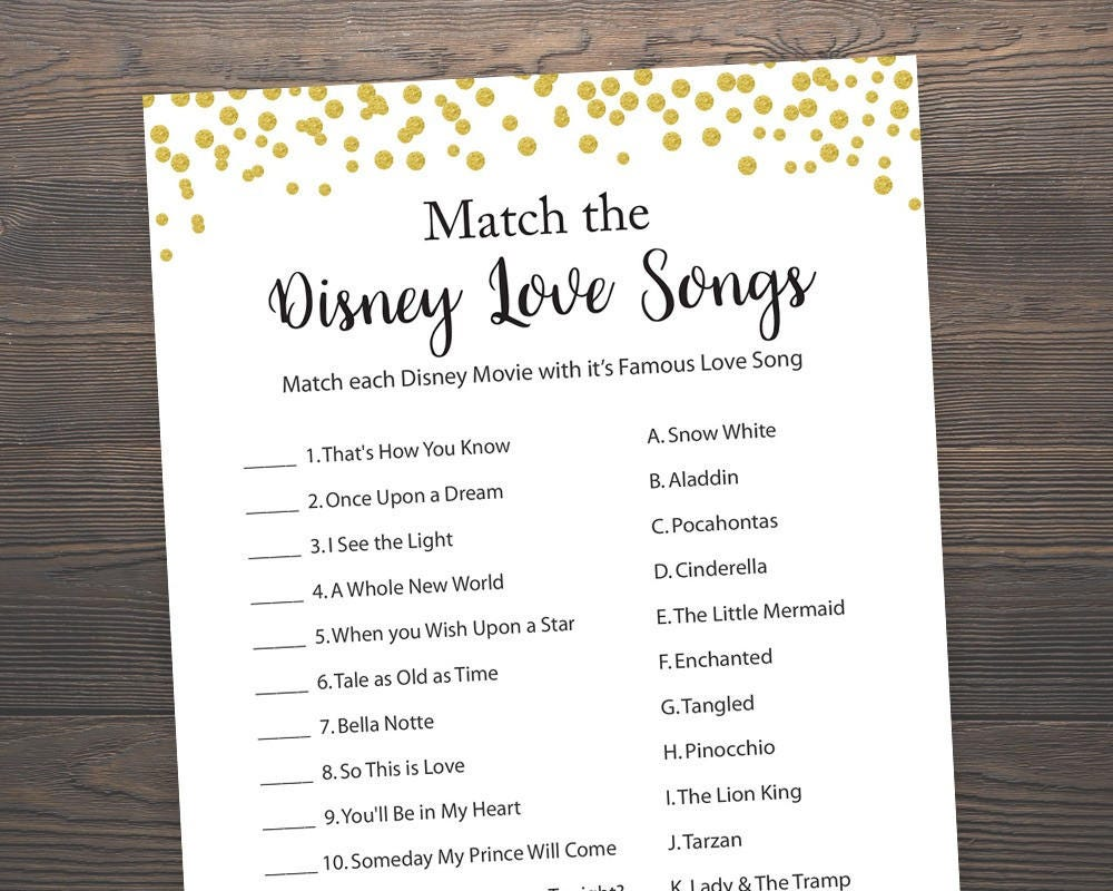 Uncategorized Love Matcher Game 30 off bridal shower disney love song game black and white gold games songs shower