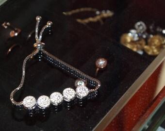 Bracelet 5 paved set CZ /Bracelet 5 stones / sliding Bracelet / ball Bracelet
