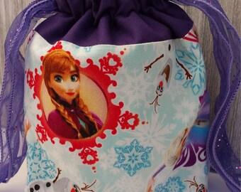 Drawstring Bag/ Drawstring Tote/Frozen/Anna/Elsa/Olaf