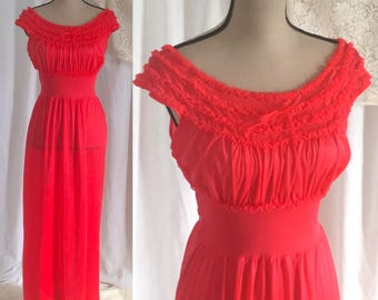 Vintage 1950's Red Ruffled NightGown