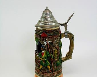 Vintage German Lidded Beer Stein with DRM  Marks-Glassed Fired Painted Stoneware German Beer Stein