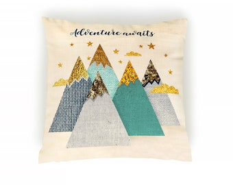 Mountains pillow, Woodland Nursery Throw Pillow, Woodland pillow, Decorative nursery pillow, Decorative pillow, Cushion cover, Babies gift