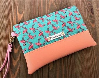 Flocking Fabulous- Flamingo- Wristlet- Handbag