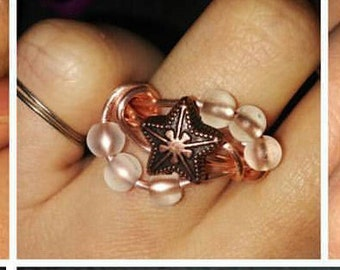 star and sea glass beaded ring