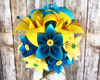 Yellow Paper Flower Bouquet - Blue Paper Flower Bouquet - Paper Flower Arrangement - Yellow Paper Flower Centerpiece - Bright Party Decor