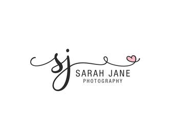 premade text logo, photography logo design, script font logo,  heart swash logo, business branding, photography watermark 017