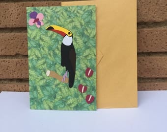 toucan card, animal lover card, birds lover gift, card for daughter, best wishes card, greeting cards handmade, animal cards, special cards