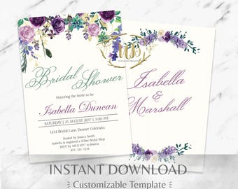 Purple and Mint Watercolor Floral Bridal Shower Invitation