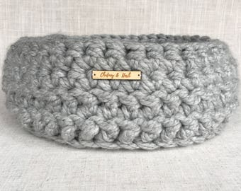 Cosy Cat Bed | Cosy Pet Bed | Cat Basket | Pet Basket | Crochet Cat Bed | Cat Furniture | Light Grey |