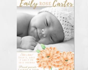 Baby girl birth announcement card, baby announcement, baby birth card, newborn announcement, new baby photo card, Printable 5x7 card.
