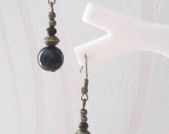 Earrings Bronze - Black 008