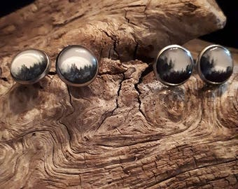 cabochon 12 mm, stainless steel, stainless, black and white landscape