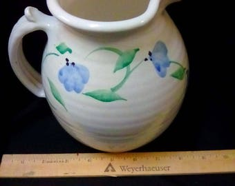 Simple Pottery Water Pitcher with a Blue Flowers