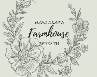 Hand Drawn Farmhouse Flower Wreath- line drawing, flowers, plants, botanical, rustic, romantic