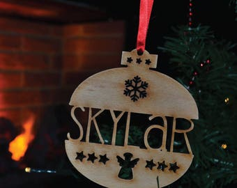Personalised Name Christmas Tree Decoration | Wooden Engraved Bauble Gift