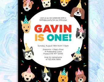 Dog Invitations Etsy - Digital birthday invitation template