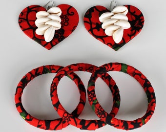 Cowrie Fashion Multiple Bangles Bracelets and Earrings - Ankara and African Print Jewelry - Gifts Ideas Accessories - Summer Fashion