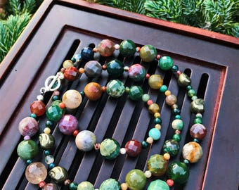 Multicolor Agate/Pyrite Beaded Necklace. Healing Natural Gemstone Beaded Necklace.