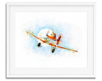 Disney Planes, Disney cars Dusty Crophopper, Nursery Wall Art, Nursery Decor Disney Planes Art Print, Disney Print, Disney Planes Watercolor