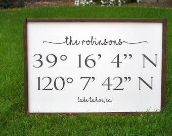 Custom Last Name Sign| Wedding Gift| Housewarming Gift| Framed Wood Sign| Custom Wood Sign| Rustic Home Decor| Farmhouse Decor| Coordinates