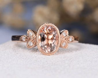 Oval Cut Morganite Engagement Ring Rose Gold Art Deco Wedding Ring Antique Eternity Diamond Bridal Promise Anniversary Women Bezel Set Leaf