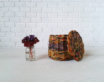 Yellow doll laundry basket. Wicker toy box with lid. Only 6 USD!
