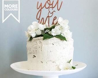 You & Me Anniversary Cake Topper, Script Cake Topper, Wooden Cake Topper, Wedding Cake Toppers, Anniversay, Wedding Cake Decor