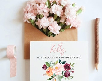Customized Will You Be My Bridesmaid Card, Maid of honor proposal card, Sister in law card, will you be my bridesmaid card / SKU: LNBM05