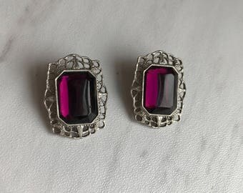 Vintage Purple Silver Earrings. Elegant Clip-on Earrings. Vintage Earrings. Victorian Style Earrings. Purple Gem. Silver Filigree Earrings.