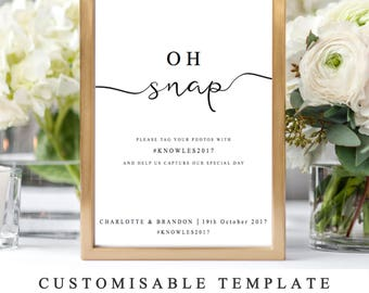 DIY Printable Wedding Sign Template, Hashtag Wedding Sign, Help Us Document Our Big Day, Oh Snap Reception Signs, The One, INSTANT DOWNLOAD