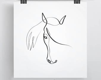 Equestrian Gift | Horse Gift Ideas | Horse Portrait | Equine Gift | Horse Art | Minimal Horse Art | Line Art | Single Line | Horse Drawing