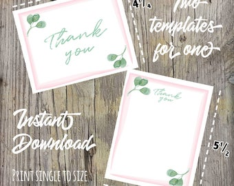 Eucalyptus Baby Shower Printable Thank You Card, Instant Download, Simple Greenery Baby Shower Thank You