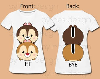 Tsum Tsum Chip and Dale Cute Hi Bye Print for Front and Back Disney Shirt. Printable PDF PNG JPG by aylines