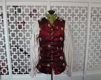 18th century men vest, wine red with embroidery, historical costume - Size small