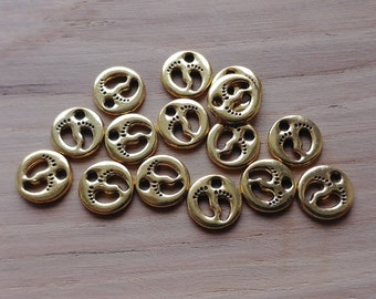 15 x Zinc Alloy Gold Cutout Feet Charms for Jewellery Making