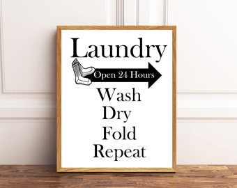 Laundry, Wash, Dry, Fold, Repeat, Laundry Sign, Laundry Wall Art, Laundry Room Decor