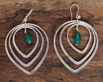 Green onyx earring,silver earrings,92.5 silver earrings,green onyx, sterling silver earring,gift earrings