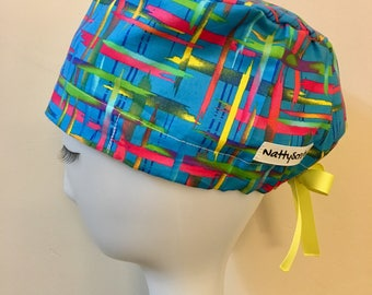 NattyScrubs Blue, Yellow, Pink, Green Paint Strokes Scrub Hat, Scrub Cap, Surgical Cap