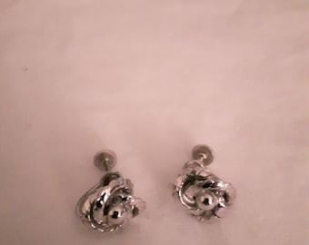 Vintage Silver Earrings - Swirls - Screw-back - 1960s