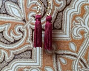 Burgundy Small Beaded Tassel Earrings