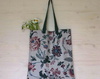 Floral Linen Bag, Floral Tote, Linen Tote Bag, Linen Canvas Bag, Canvas Tote, Eco Bag, Large Tote Bag, Floral Linen Fabric, Gray Bag, Tote