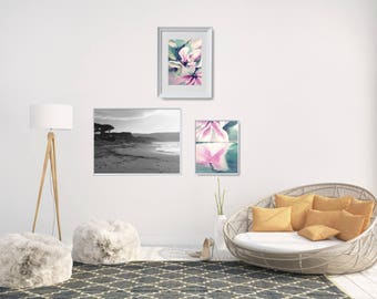 Coastal Gallery Wall, Flower Painting Printable, Modern Coastal Art, Beach Wall Decor Set, Ocean Photo Decor, Printable Wall Art Bundle