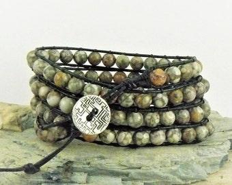 Gemstone Wrap Bracelet, Leather Bracelet, Boho Bracelet, Natural Stone, Stone Bracelet, Beaded Leather Wrap, Leather Wrap, Gift for Her