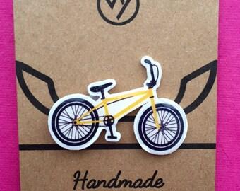 BMX pin badge, yellow, skate park, gift, pin collector, half pipe Handmade, wearable art