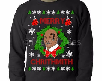 Mike Tyson Ugly Christmas Sweater Merry Chrithmith Parody Funny Novelty Gift Free UK Cheap US Shipping