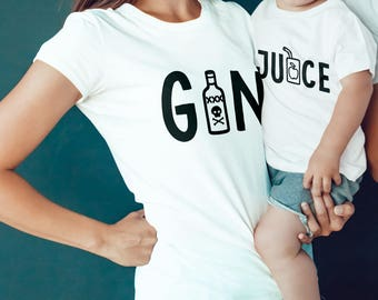 MATCHING SET- 2 Tees- Gin Tee / Gin and Juice Funny Tee / Mommy and me / Matching Tees / Snoop Dogg  / Women's Slim Fit / Kids Tee / Rap